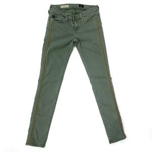 AG 'the Legging Ankle' Embroidered Jeans - Green